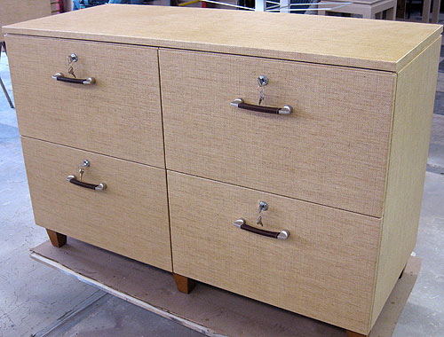 Grass Cloth Wrapped File Cabinet